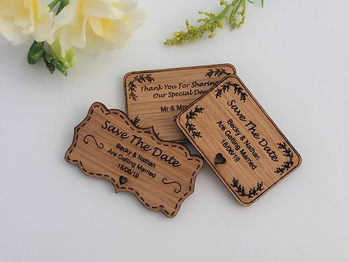 Wooden Favour Magnets- Rustic Wedding -Save the Date - Thank you