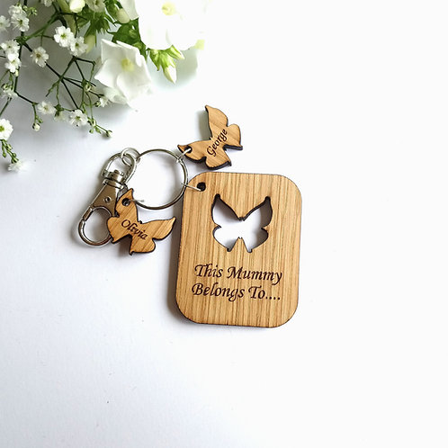 This Mummy Belongs to.. Key Ring - Personalised - Butterflies