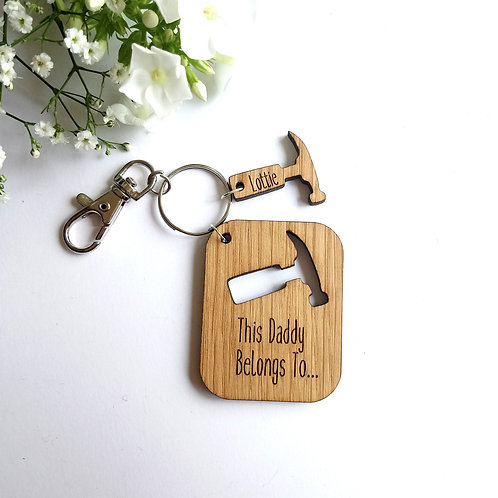This Daddy Belongs to.. Key Ring - Personalised - Hammers