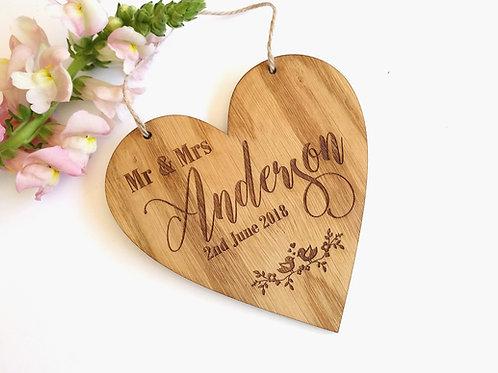Mr & Mrs heart plaque - laser engraved Heart plaque - Mr & Mr - Mrs & Mrs
