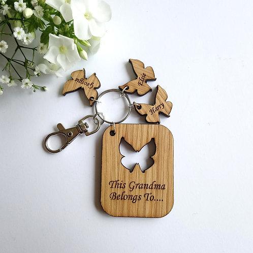 This Grandma Belongs to.. Key Ring - Personalised - Butterflies