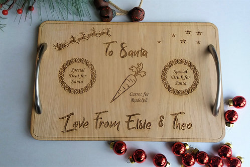 Santa Tray - Personalised Laser engraved wooden santa board for treat and drink
