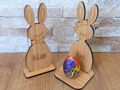 Easter Bunny Egg Holder - Oak Veneer - 2 Stands - Egg not i