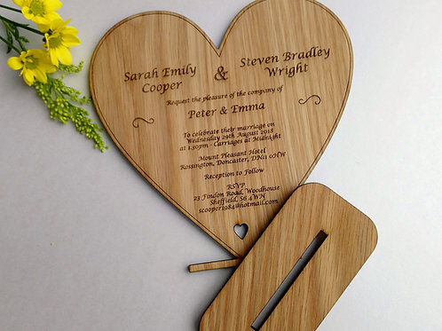 Unique Oak Wedding Invites FROM £4 each - Rustic Wedding