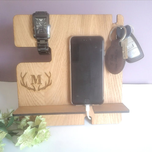 Mens Personalised Organiser - Phone holder - Bedside desk tidy