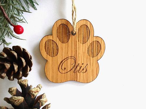 Paw Print Personalised Oak Engraved Christmas Tree Decoration