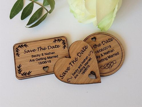 Save The Date Wooden Magnets - Rustic Wedding- Wedding Magnet
