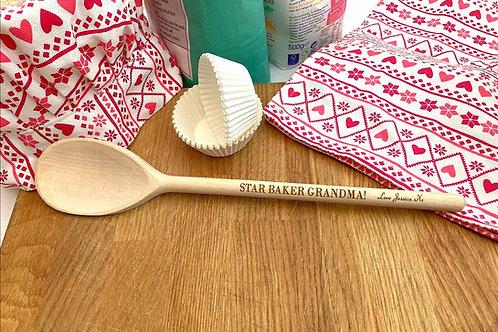 Wooden Spoon - Personalised Engraved Wooden spoon - Grandma gift - Child Baker