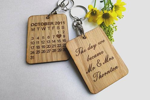 The Day We Became Mr and Mrs 'Surname' Keyring - Wedding Day Keyring