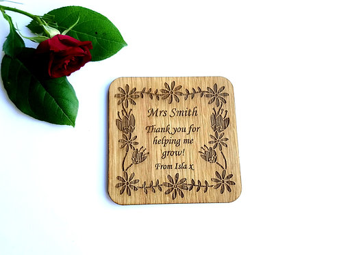 Personalised Teachers Coasters - Personalised Floral Coaster - Oak Coaster