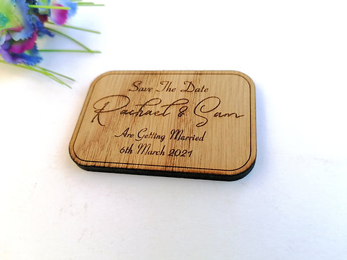 Rectangle Save The Date Wooden Magnets - Rustic Wedding Favours- Wedding Magnets