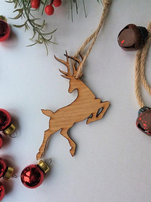Reindeer Tree Decoration - Oak Christmas Tree Hanging - Can be Personalised