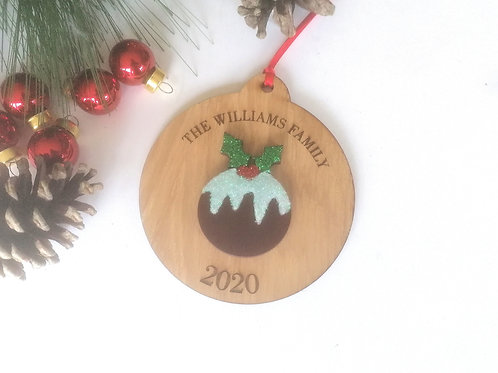 Christmas Pudding Tree Decoration - Oak Bauble Tree Decoration - Personalised