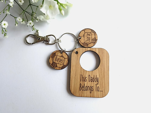 Fathers Day Key Ring - This Daddy Belongs to.. Personalised Laser Engraved Oak