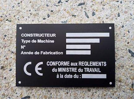plaque CE constructeur aluminium gravée au laser
