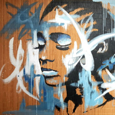 """Blue girl""acrylique sur natte bambou"