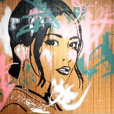 """china girl"" acrylique sur natte bambou"