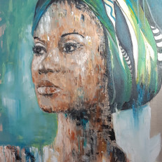 """Africaine au turban""100 x80 cm cm"