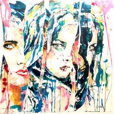 """Reagards 2"" collages sur toile"
