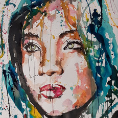encre et pastel sur papier ,60 x80 cm