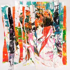 """""""Bowie""""collage papier sur toile,80 x80 cm"""