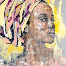 """Africaine au turban"" 100 x80 cm"