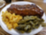half rack of ribs, mac an cheese, green beans