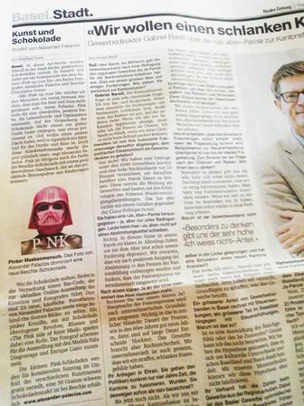 Die Basler Zeitung (BAZ) über Alexander Palacios (PINK UP YOUR LIFE)
