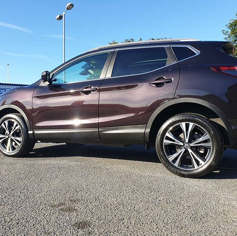 67 plate Nissan Qashqai in burgundy afte