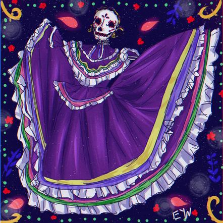 Ballet Folklórico with a Skull Woman.