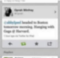 Oprah tweeted me