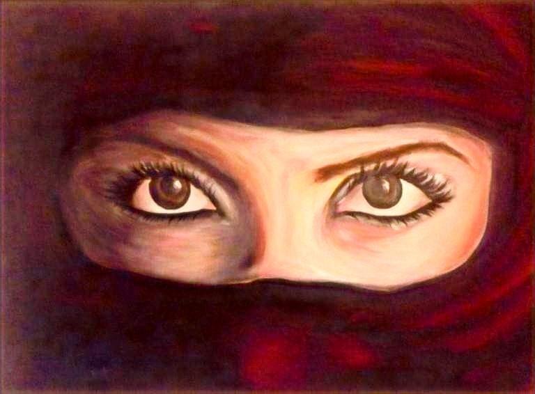 Wüstenfrau_Acryl-auf-Leinwand