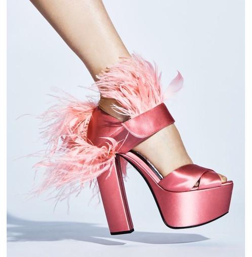 99b264aab7b Tonal feathers add vintage glam to satin platform sandal  Self-covered block  heel