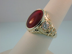 Gents Carnelian & Diamond Ring