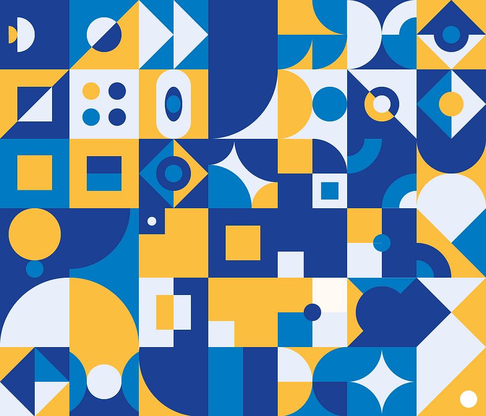 Shape on illustrator doodle yellow blue white