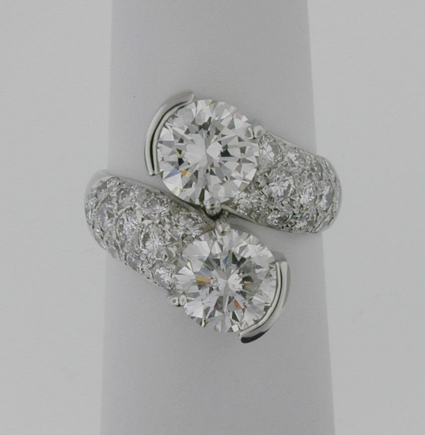 2 Stone Bypass Pave Ring