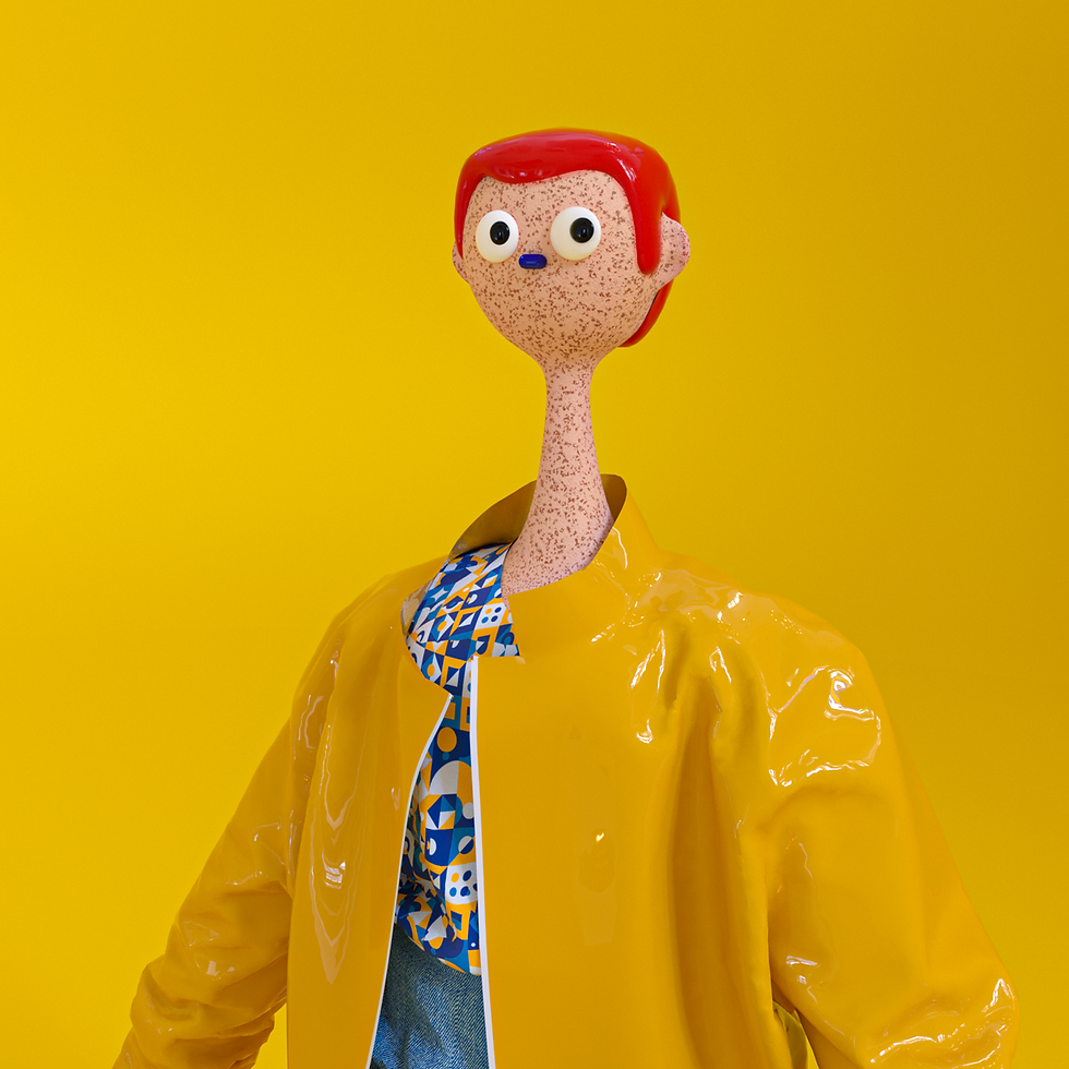 Character design with funny head in 3D