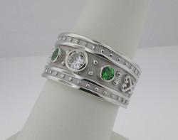 Etruscan Diamond & Tsavorite Ring