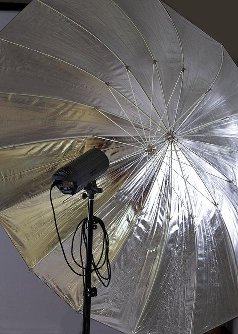 Reflexschirm schwarz, silber 180 cm, Vermietung 1 Tag CHF  9