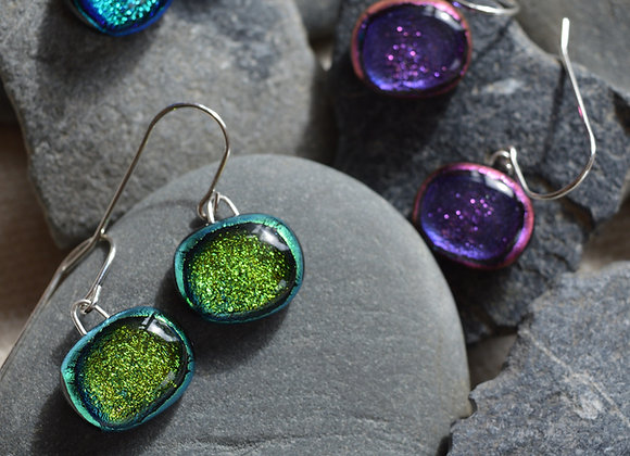 Dichroic Drop Earrings