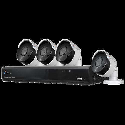 Nivian NV-KIT41-4CAM-5M 4x 5MP bullet camera's en 4 kanaals PoE UltraHD 4K NVR