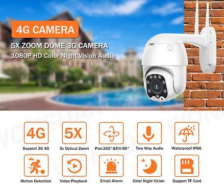 4G Sim-kaart Camera 1080P Ptz 5X Zoom Autofocus 2.7-13.5 mm