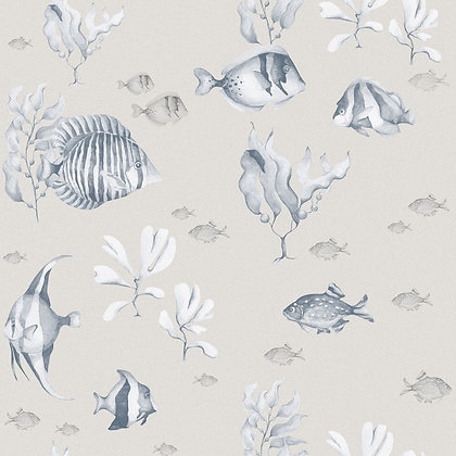Blue&White Beige Fish Wallpaper