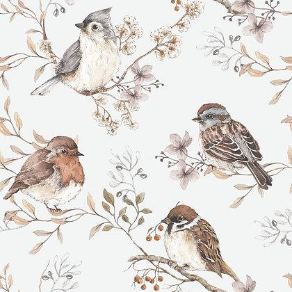 Birds White-Gray Wallpaper