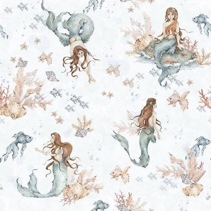 Mermaids In Waves Light Wallpaper