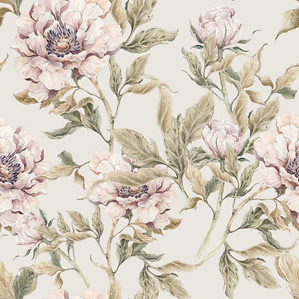 Peonies Beige Wallpaper