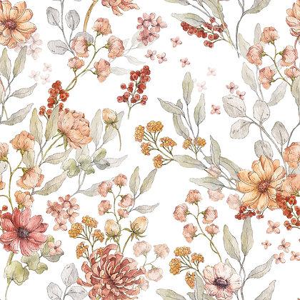 Autumn Meadow White Wallpaper