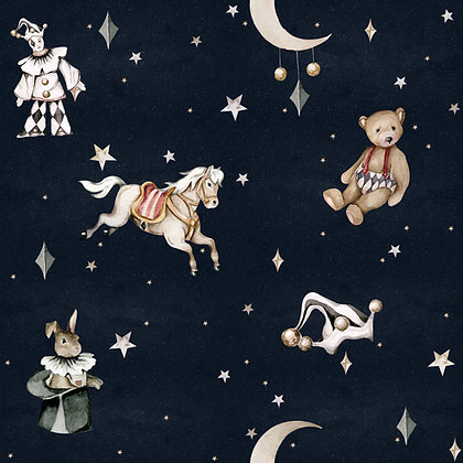 French characters in the night sky / Toys from the attic