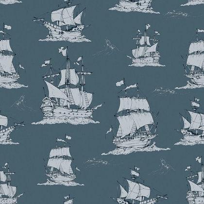 Navy Blue Ships Wallpaper