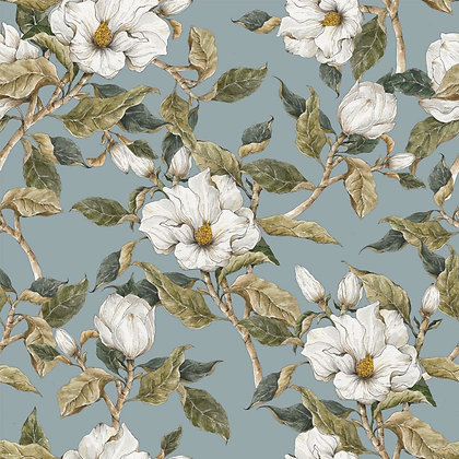Magnolias on the blue background Wallpaper
